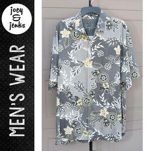 Men's Tommy Bahama Gray Hawaiian Shirt X-Large